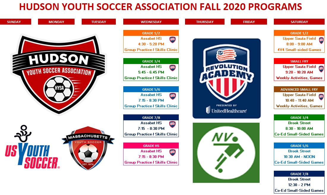 Hudson Youth Soccer Association Fall 2020 Programs